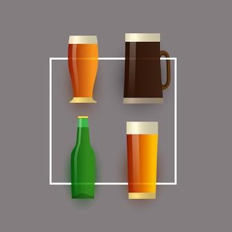 Conjunto de garrafa de cerveja, copo de cerveja