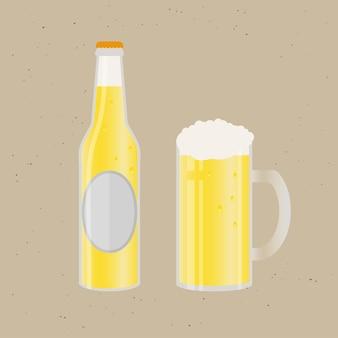 Conjunto de garrafa de cerveja e vidro. ícone de vetor com bebidas alcoólicas. cerveja de trigo, lager, cerveja artesanal, ale.