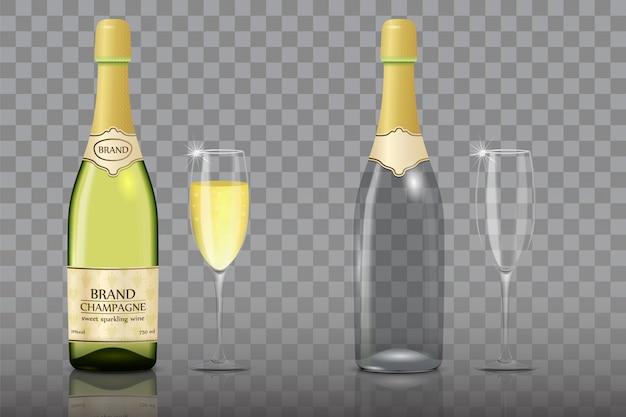 Conjunto de garrafa de champanhe com copo de vinho