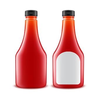 Conjunto de garrafa de ketchup de tomate vermelho de plástico em branco para branding
