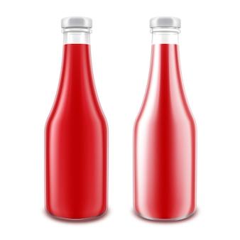 Conjunto de garrafa de ketchup vermelho brilhante de vidro em branco para branding