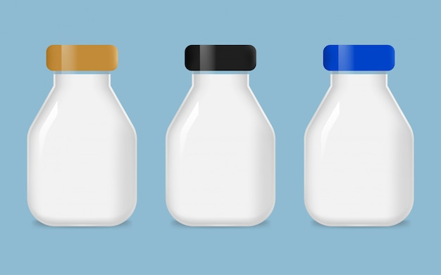 Conjunto de garrafa de leite de vidro