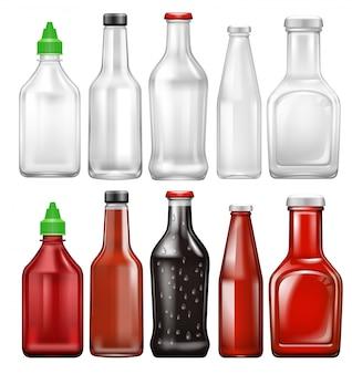 Conjunto de garrafa de molho