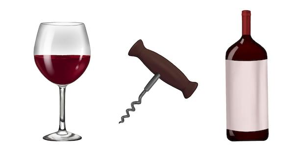 Conjunto de garrafa de vidro de vinho e saca-rolhas