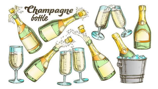 Conjunto de garrafa e copo de champanhe