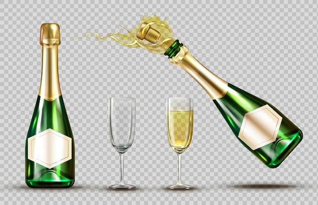 Conjunto de garrafa e copo de vinho de explosão de champanhe