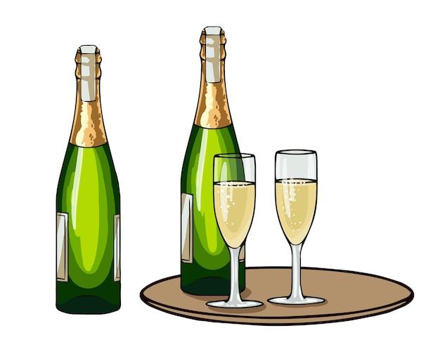 Conjunto de garrafa e taças de champanhe