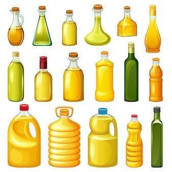 Conjunto de garrafas com óleos vegetais.