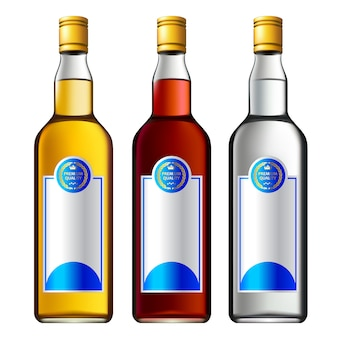 Conjunto de garrafas de álcool colorido 3d.