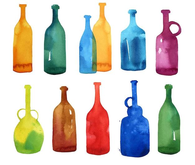 Conjunto de garrafas de aquarela, lavagens de aquarela em forma de garrafa
