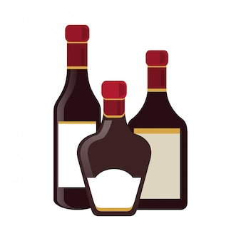Conjunto de garrafas de bebida de álcool