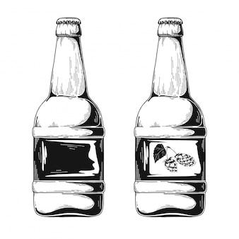 Conjunto de garrafas de cerveja. esboço.