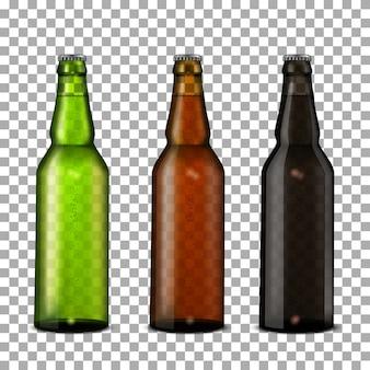 Conjunto de garrafas de cerveja.