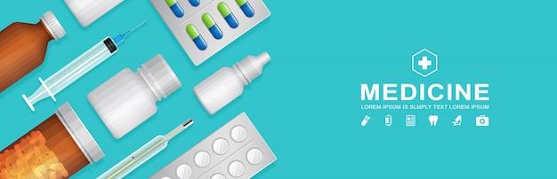 Conjunto de garrafas de cuidados de saúde e médicos banner templaet