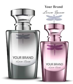 Conjunto de garrafas de perfume para homens e mulheres. desenhos de embalagens de produtos realistas Vetor Premium