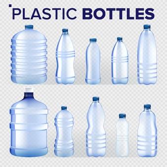 Conjunto de garrafas de plástico