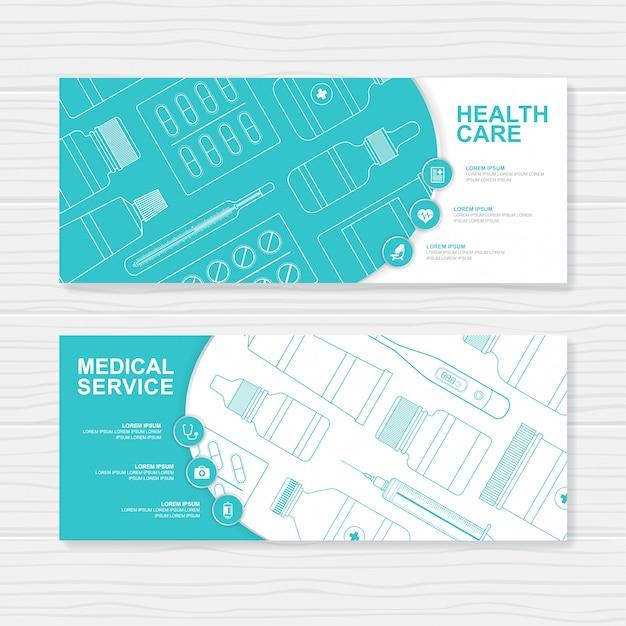 Conjunto de garrafas de saúde e médicos modelo de banner de medicina