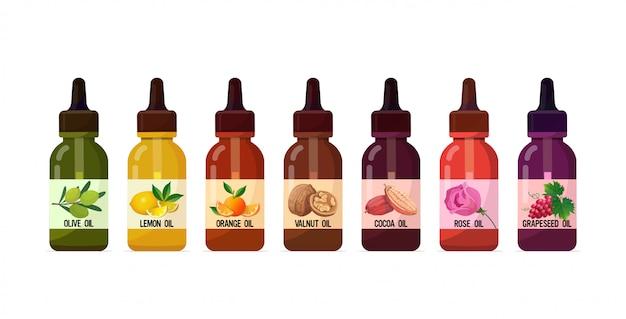 Conjunto de garrafas de vidro de óleo realista com ingrediente líquido cosmético de conta-gotas para bebidas de alimentos e conceito de skincare de produtos spa horizontal