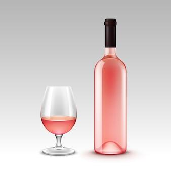 Conjunto de garrafas de vinho e copos no fundo