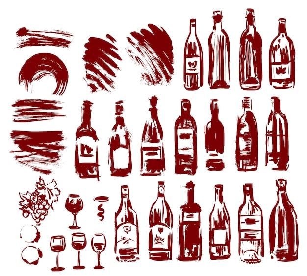 Conjunto de garrafas de vinho pintadas