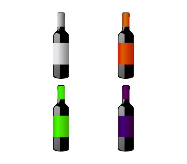 Conjunto de garrafas de vinho