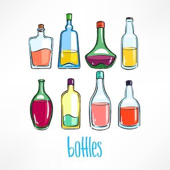 Conjunto de garrafas diferentes com bebidas coloridas
