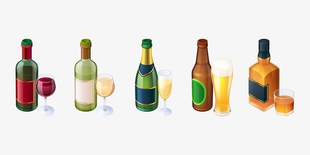 Conjunto de garrafas e copos de cerveja de vinho tinto e branco