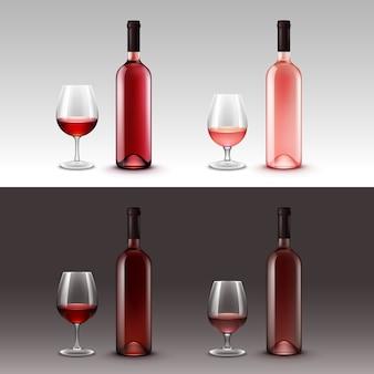 Conjunto de garrafas e copos de vinho