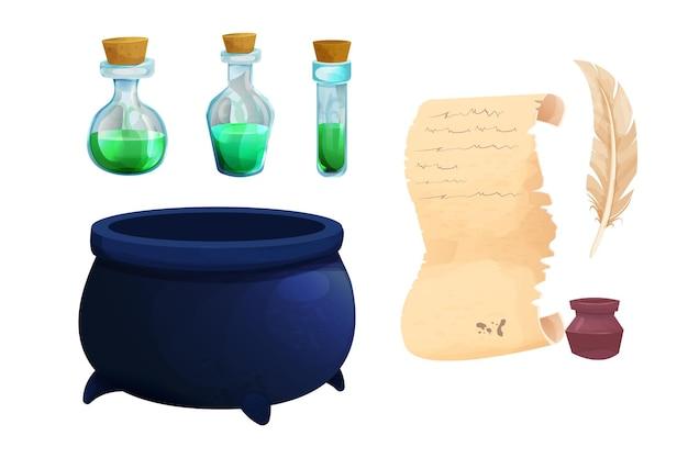 Conjunto de garrafas mágicas com poção líquida, pergaminho de bruxa, pergaminho com pena em estilo cartoon