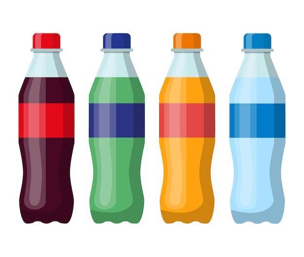 Conjunto de garrafas plásticas de bebidas. coca-cola, refrigerante de laranja, água e chá verde gelado. bebidas frias engarrafadas.
