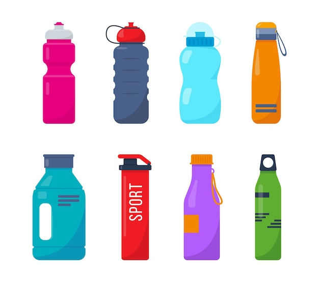Conjunto de garrafas plásticas esportivas
