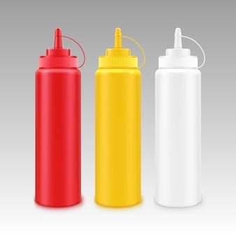 Conjunto de garrafas plásticas vazias