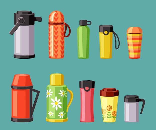 Conjunto de garrafas térmicas e canecas térmicas