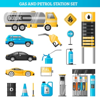Conjunto de gás e posto de gasolina