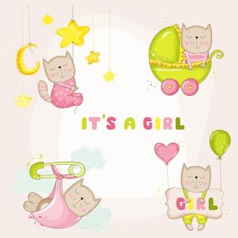 Conjunto de gatinha para cartões de chá de bebê