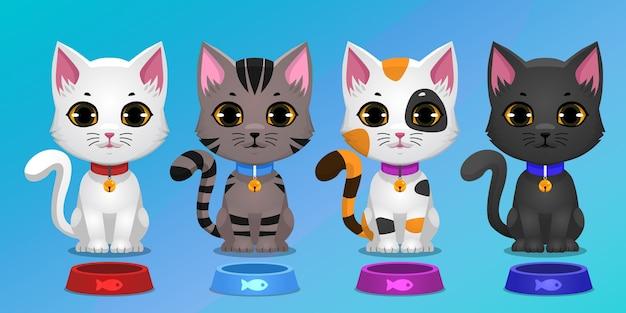 Conjunto de gatinhos sentados com diferentes cores e tigela de ração