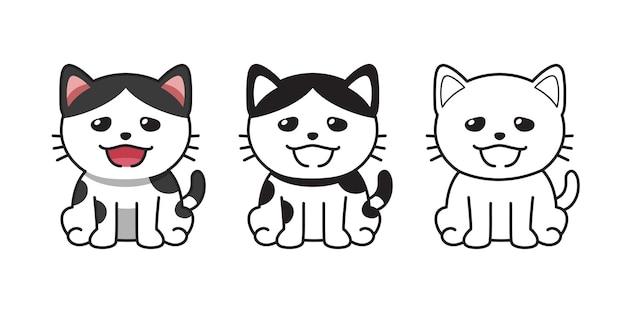 Conjunto de gato bonito do vetor personagem dos desenhos animados para o projeto.
