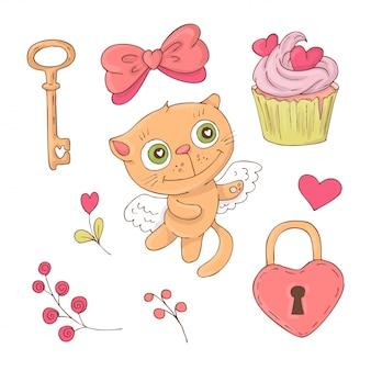 Conjunto de gato bonito dos desenhos animados para o dia dos namorados