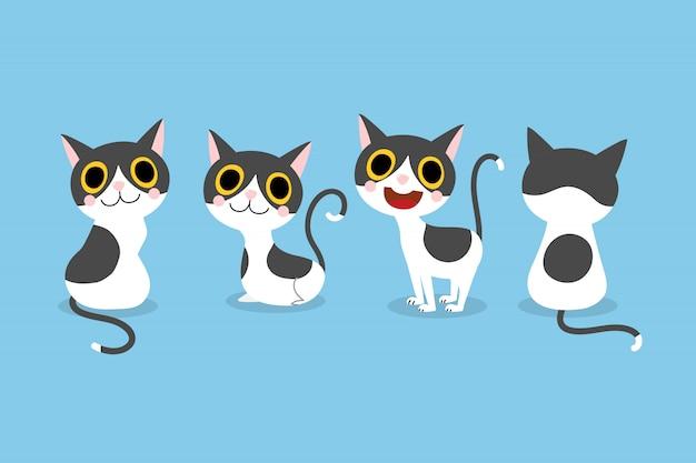 Conjunto de gato bonito dos desenhos animados