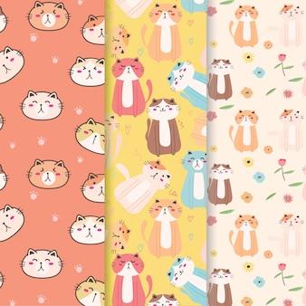 Conjunto de gato bonito padrão.
