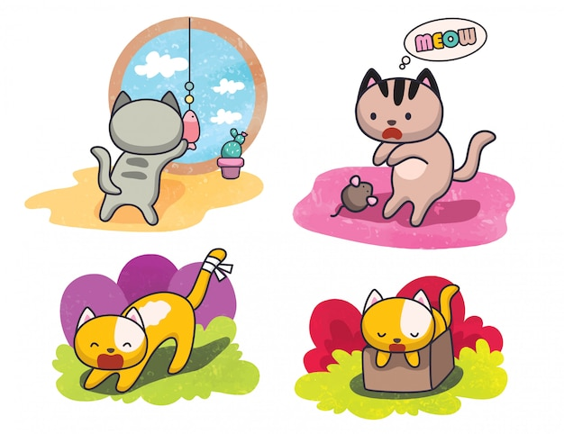 Conjunto de gato bonito poses ilustração