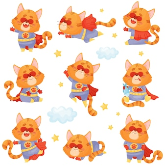 Conjunto de gato de desenho animado com fantasia de super-herói voa, pula e dorme