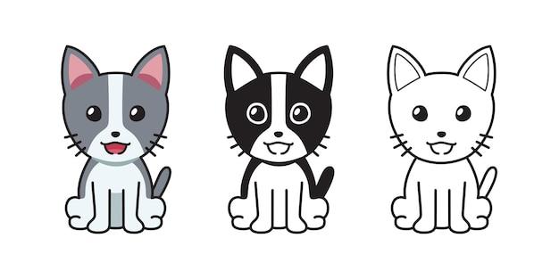 Conjunto de gato de desenho animado de personagem de vetor para o projeto.