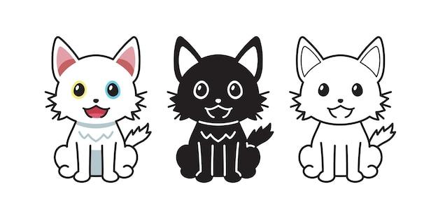 Conjunto de gato de personagem de desenho vetorial para design.