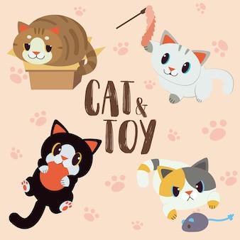 Conjunto de gato e brinquedo