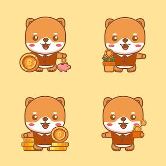 Conjunto de gato fofo com moedas investir conceito de economia ícone de mascote para aplicativo de finanças virtual