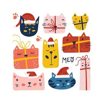 Conjunto de gato fofo de natal