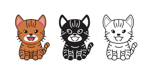Conjunto de gato malhado de desenho animado de personagem de vetor para o projeto.