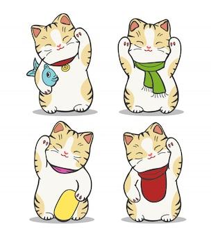 Conjunto de gato maneki neko japão