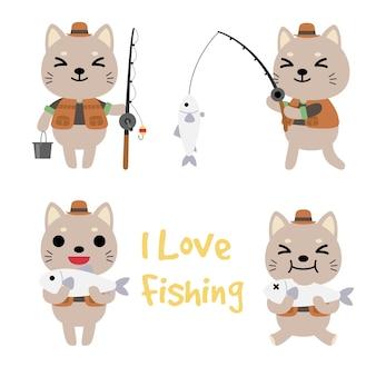 Conjunto de gato pescando, animais engraçados